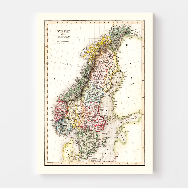 Vintage Map of Sweden & Norway 1832