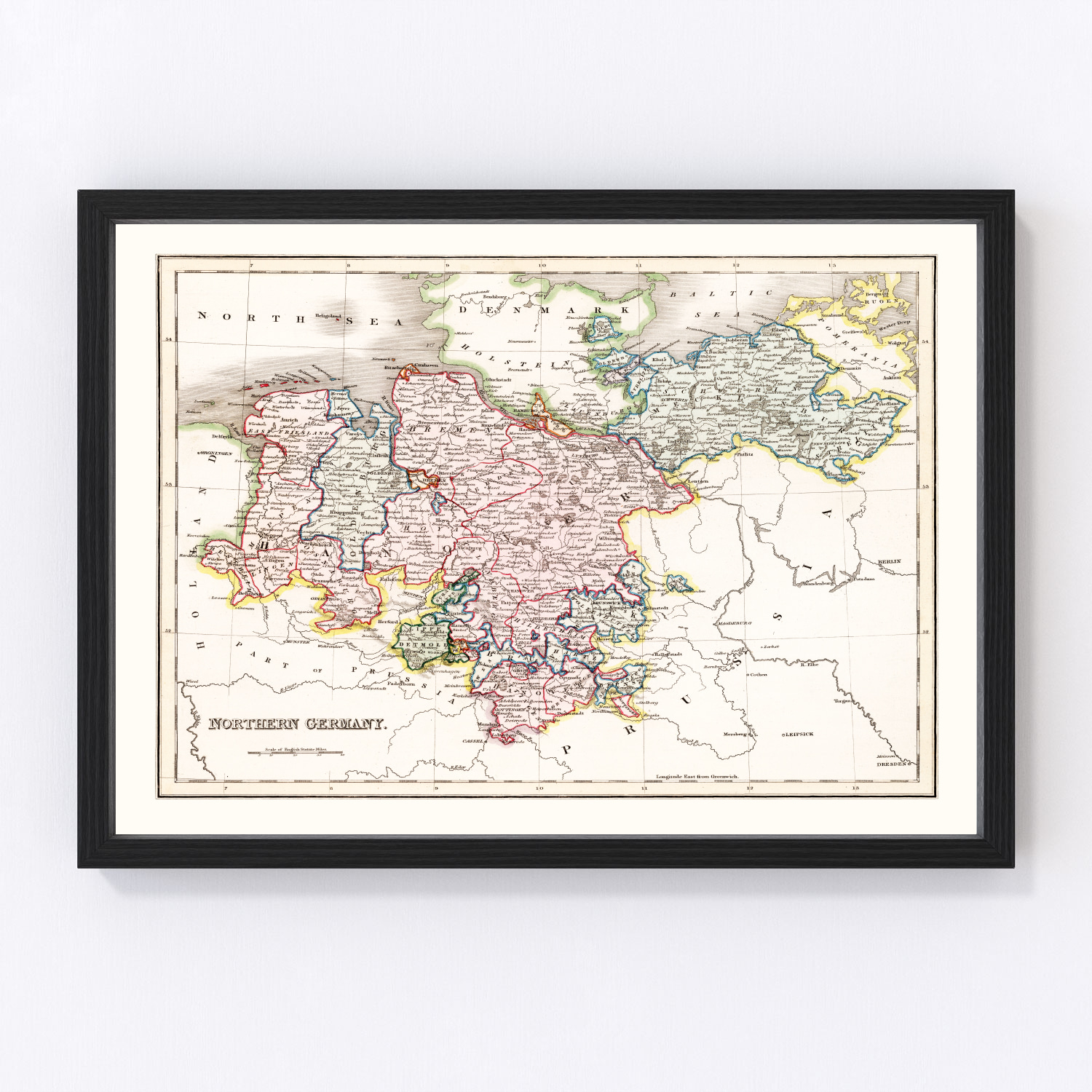 Vintage Map of Northern Germany 1832