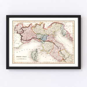 Vintage Map of North Italy 1832