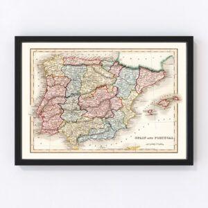 Vintage Map of Spain & Portugal 1832