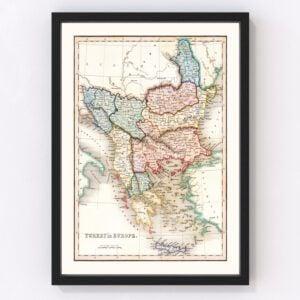 Vintage Map of Turkey in Europe 1832