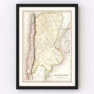 Vintage Map of Chile & La Plata 1832