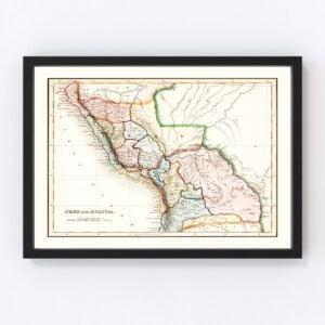 Vintage Map of Peru & Bolivia 1832