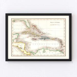 Vintage Map of West Indies 1832