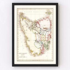 Vintage Map of Van Diemen's Land (Tasmania) 1832