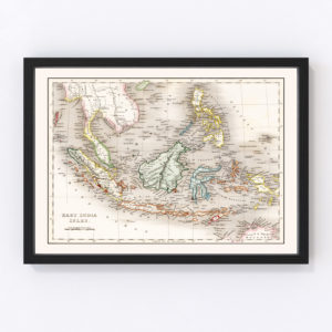 Vintage Map of Indonesia, Malaysia & Philippines 1832