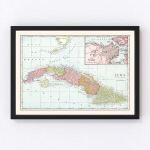 Vintage Map of Cuba 1901