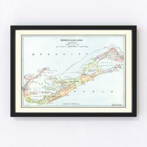Vintage Map of Bermuda Islands 1901