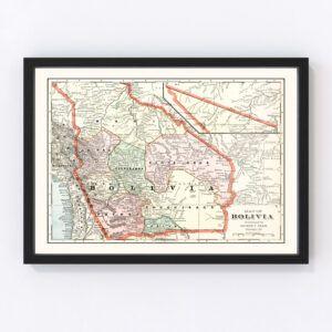 Vintage Map of Bolivia 1901