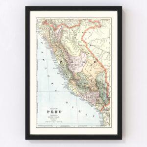 Vintage Map of Peru 1901