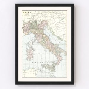 Vintage Map of Italy 1901