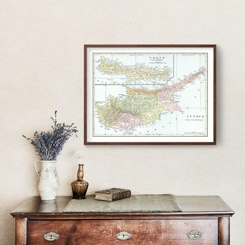 Vintage Map of Cyprus & Crete 1901