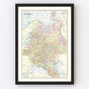 Vintage Map of Russia 1901