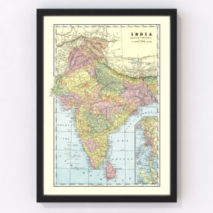 Vintage Map of India 1901