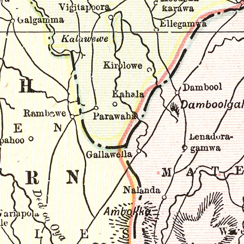 Vintage Map of Ceylon (Sri Lanka) 1901