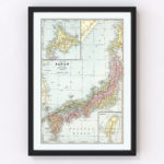 Vintage Map of Japan 1901