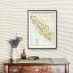 Vintage Map of Sumatra, Indonesia 1901