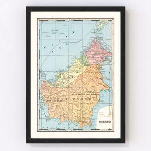 Vintage Map of Borneo, East Indies 1901