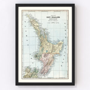 Vintage Map of New Zealand (North Island) 1901