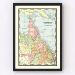Vintage Map of Queensland, Australia 1901