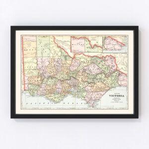 Vintage Map of Victoria, Australia 1901