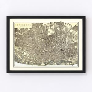 Vintage Map of Liverpool, England 1901