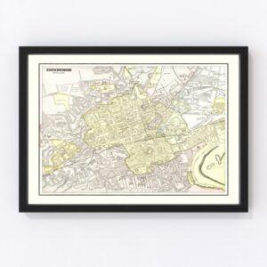 Vintage Map of Edinburgh, Scotland 1901