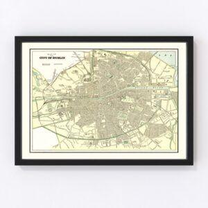 Vintage Map of Dublin, Ireland 1901