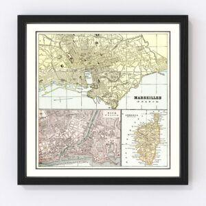 Vintage Map of Marseille, France 1901