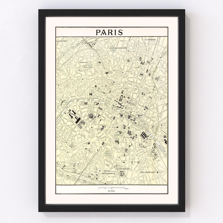 Vintage Map of Paris, France 1901