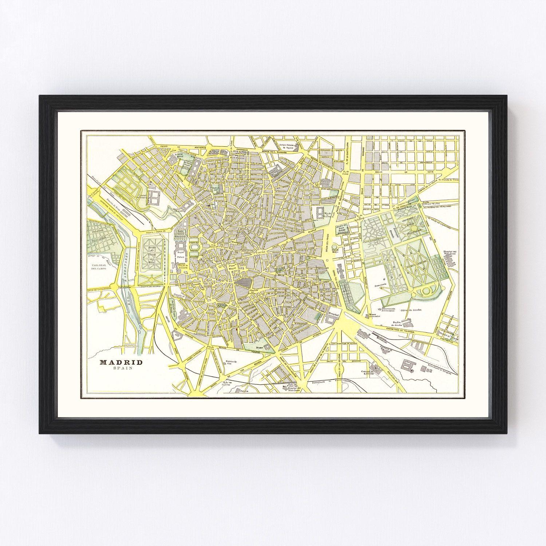 Vintage Map of Madrid, Spain 1901