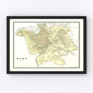 Vintage Map of Rome, Italy 1901
