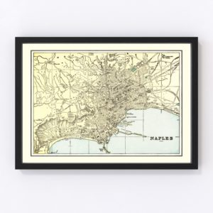 Vintage Map of Naples, Italy 1901