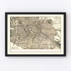 Vintage Map of Berlin, Germany 1901