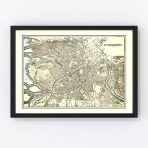 Vintage Map of Saint Petersburg, Russia 1901