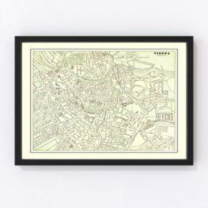 Vintage Map of Vienna, Austria 1901