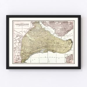 Vintage Map of Istanbul, Turkey 1901