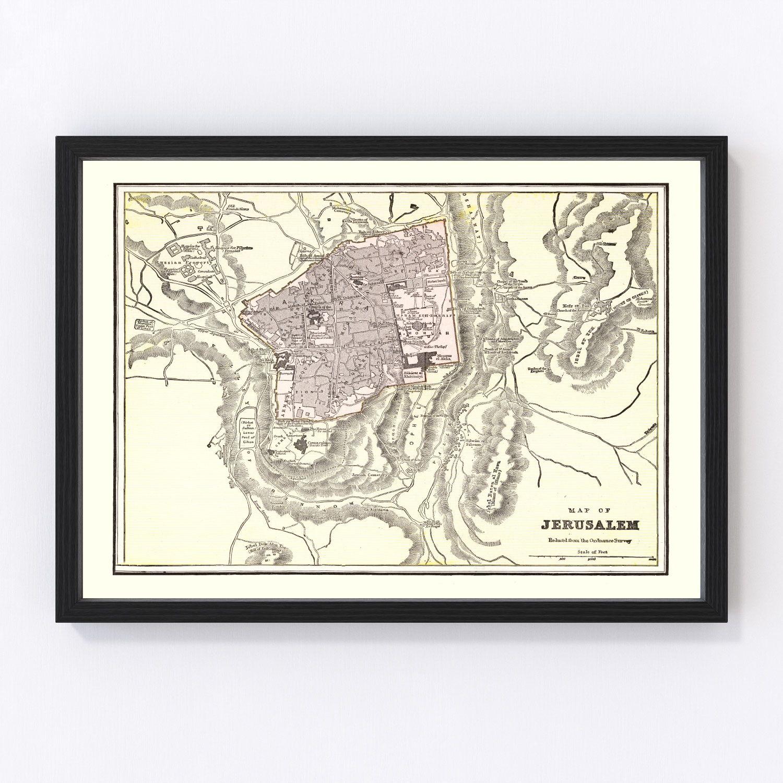 Vintage Map of Jerusalem, Israel 1901