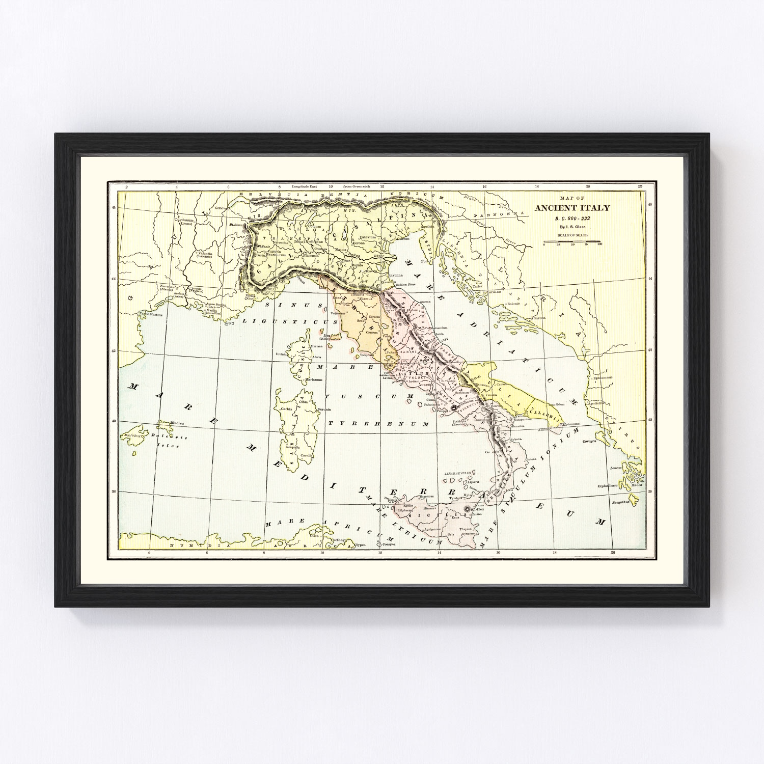 Vintage Map of Ancient Italy 1901