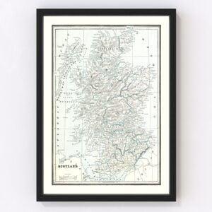 Vintage Map of Scotland 1893