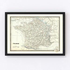 Vintage Map of France 1893