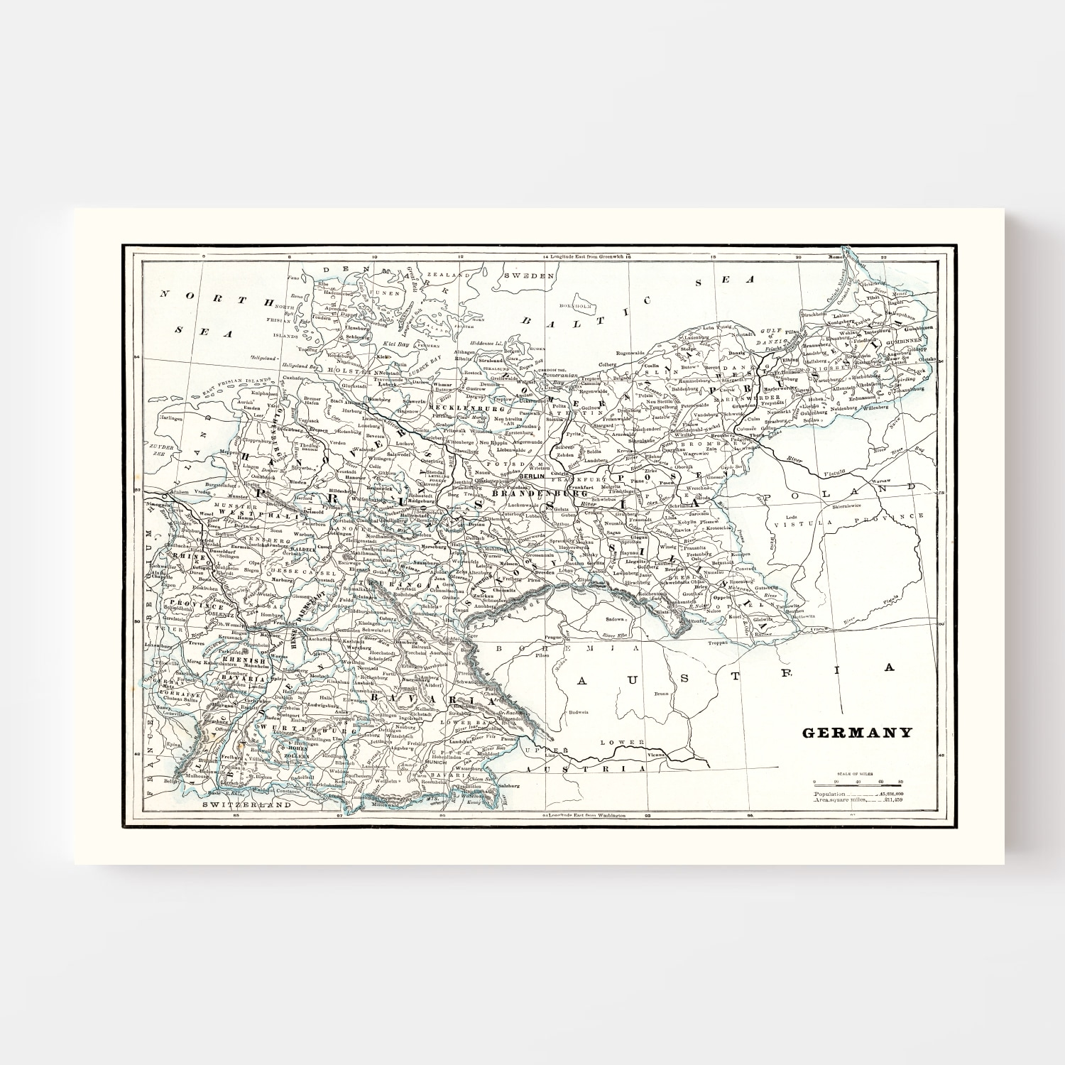 Vintage Map of Germany 1893