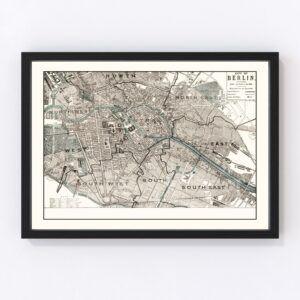 Vintage Map of Berlin, Germany 1893