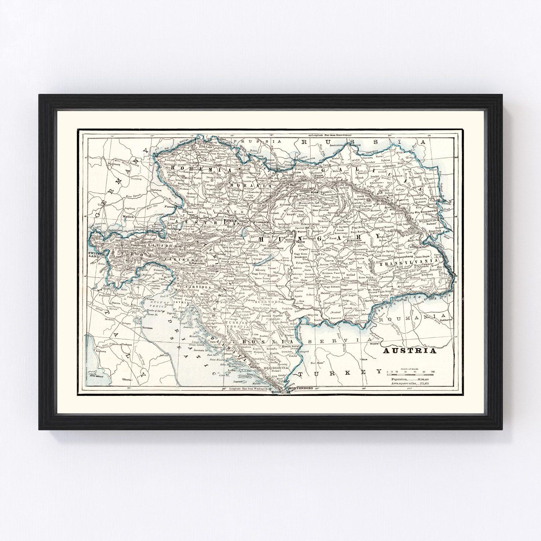 Vintage Map of Austria 1893
