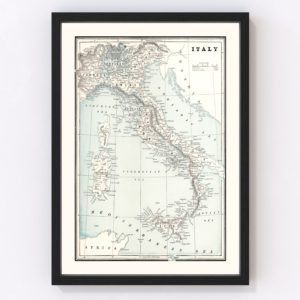 Vintage Map of Italy 1893
