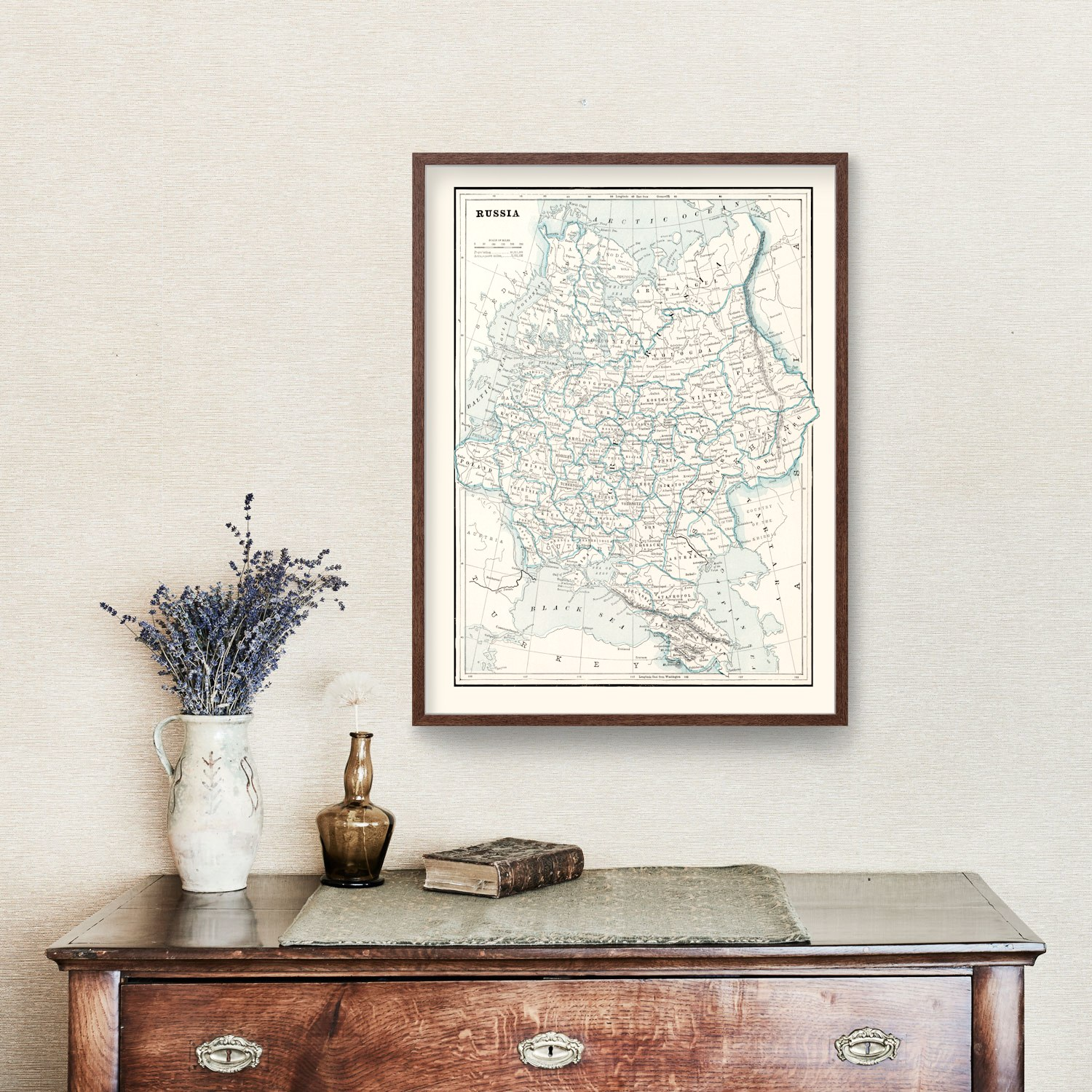 Vintage Map of Russia 1893