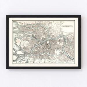 Vintage Map of Saint Petersburg, Russia 1893