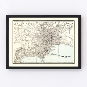Vintage Map of Naples, Italy 1893