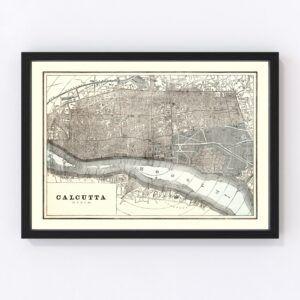 Vintage Map of Calcutta, India 1893