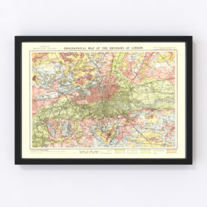 Vintage Map of London, England 1883